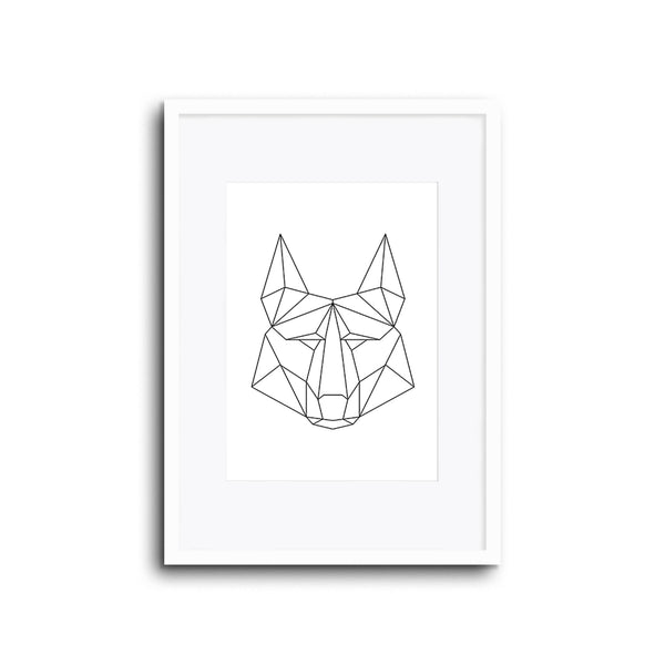 Wall Print Geometric Line Animals Wolf