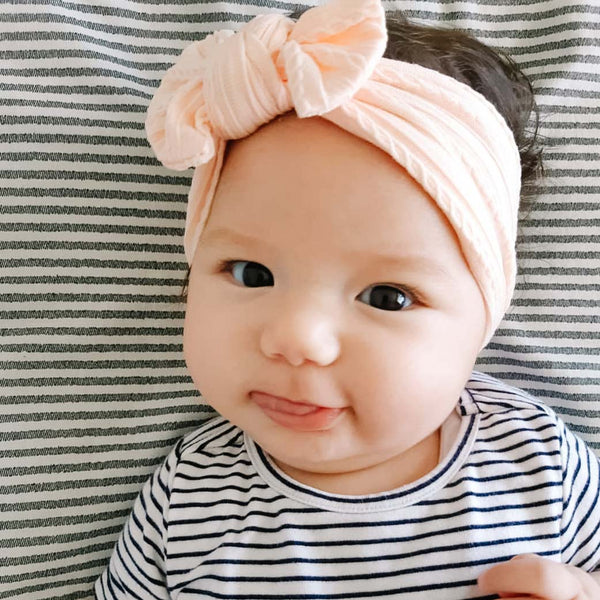 Cable Bow Headband - Peach for girls baby and toddlers. Cute, pretty and beautiful accessories