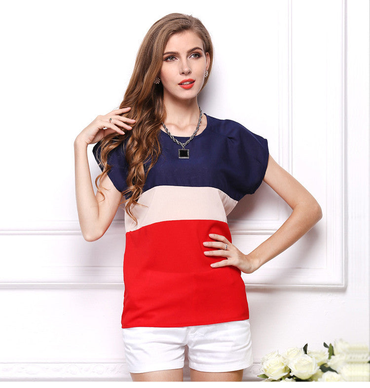 9d833f41655 USA SIZE Large size short-sleeved chiffon shirt three-color stitching small  color matching