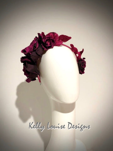 Fuchsia Silk Rose Crown