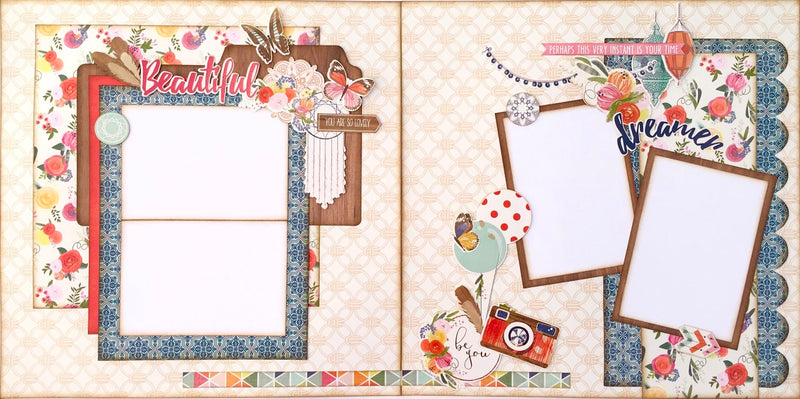 Everyday, bohemian, girl scrapbook layout