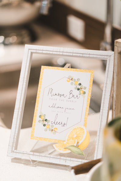 Lemon themed bridal shower, She Found Her Main Squeeze, lemon themed party ideas, mimosa bar sign
