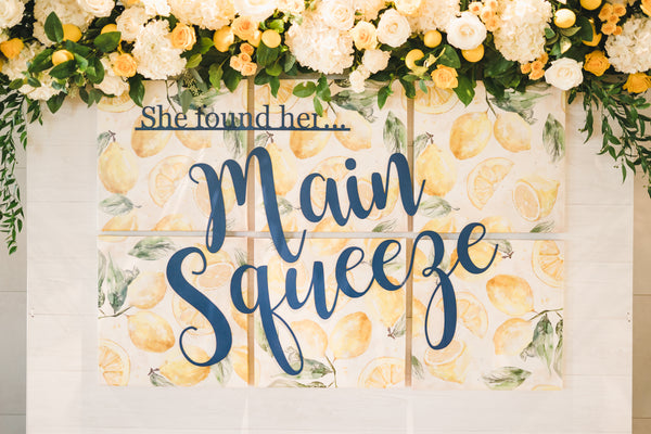 Lemon themed bridal shower, She Found Her Main Squeeze, lemon themed party ideas, lemon themed backdrop