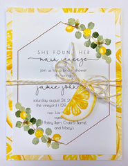 Lemon themed party invitation, bridal shower