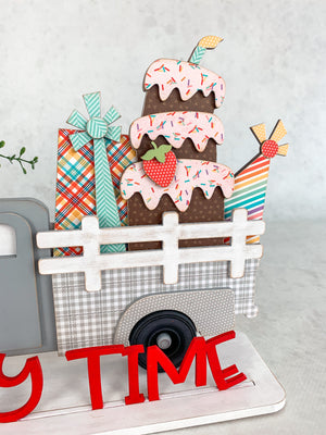 Interchangeable Farmhouse Truck with Birthday insert.  Changing Farmhouse truck. Handmade truck decor. DIY farmhouse truck.