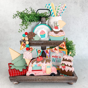 Celebrate and birthday tiered tray. Melted ice cream cone and cupcake for styling birthday and ice cream themed tiered trays. Ice cream cone and cupcake wood decor. Handmade wood decor crafts. Cupcake with a cherry on top. Mint chip flavored ice cream cone. Birthday decorations. Ice cream themed decorations.