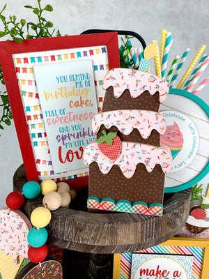 Birthday tiered tray decor. Ice cream tiered tray decor.Birthday cake wood decor with sprinkles phrase sign. Birthday party decor. Handmade birthday party decor. Birthday parties decor ideas. Cute birthday cake with sign.