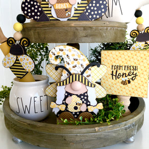 Bumblebee gnome wood craft, bumblebee themed party decor, bee tiered tray ideas, bee crafts, honeybee ideas, bee beaded garland, bee home decor, bumblebee home decor