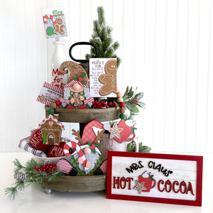 Gingerbread themed wood gnomes for styling or decorating tiered trays, shelf decor, and mantels. Rae Dunn Christmas tiered tray ideas. Gingerbread Christmas decorations. Handmade gnomes.