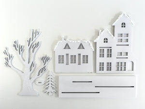 White winter Christmas village, wood christmas house for mantel, fireplace, table or shelf, Christmas city, handmade Christmas gifts, Winter cityscape, winter village for train background, christmas decorations, winter decorations, Christmas decorating ideas