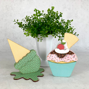 Melted ice cream cone and cupcake for styling birthday and ice cream themed tiered trays.  Ice cream cone and cupcake wood decor. Handmade wood decor crafts. Cupcake with a cherry on top.  Mint chip flavored ice cream cone.  Birthday decorations. Ice cream themed decorations.