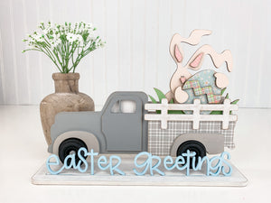 Wood truck with bunny and egg in the back of the truck, easter wood decor, Easter home decor crafts, Handmade home decor.