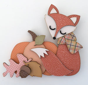 Fall woodland fox with pumpkin and leaves wood decor DIY craft kit, fall wood crafts, handmade fall fox decor