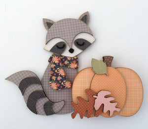 Fall woodland raccoon wearing a scraf with pumkin and leaves wood decor for tiered tray, mantel, or shelf.