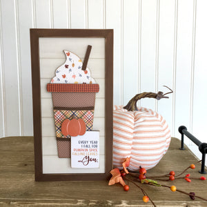 Wood shiplap sign with pumpkin and fall latte cup, wood sign for fall and thanksgiving tiered tray decor, fall and thanksgiving home decor.  DIY Wood crafts