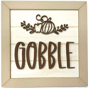 Gobble shiplap sign for Thanksgiving or fall home decor, Thanksgiving tiered tray styling, fall tiered tray ideas, wood signs for tiered trays, mantels, and shelves.