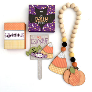 Halloween Garland, Blocks, and Candy Plant Stick Wood Decor DIY Kit