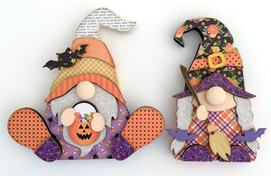 Halloween Gnomes Wood Decor DIY Kit for fall seasonal decor, witch and candy corn gnome, handmade halloween decor