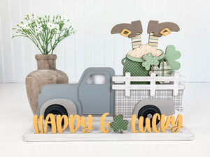 Wood vintage pick-up truck with leprechaun and pot of gold in the bed of the truck, St Patrick's wood home decor, handmade wood home decor craft projects, DIY vintage pick-up truck, Interchange pick -up truck