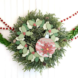 Holly Christmas Wreath DIY Wood Craft Kit - Paisleys and Polka Dots