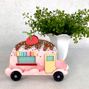 Ice cream scoop truck wood decor.  Birthday and ice cream tiered tray decor.  Wood ice cream truck.  Sundae truck with a cherry on top.  Birthday and ice cream decorations.  Party decorations.  Pink ice cream truck.