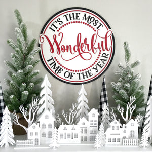 It's the Most Wonderful Time of the Year 22x22 Christmas Sign - SPECIAL ORDER ONLY FREE SHIPPING
