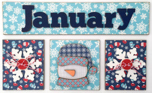 Magnetic Calendar Month-January (calendar sold separately) - Paisleys and Polka Dots