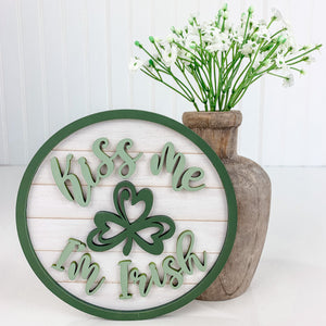Round wood shiplap sign for styling tiered rays, mantles, shelves, and more.  6 inch round wood sign.  St Patricks wood home decor.  Kiss Me I'm Irish home sign.
