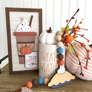 Rae Dunn Sweater Weather candle with wood shiplap sign with pumpkin and fall latte cup, wood sign for fall and thanksgiving tiered tray decor, fall and thanksgiving home decor.  DIY Wood crafts