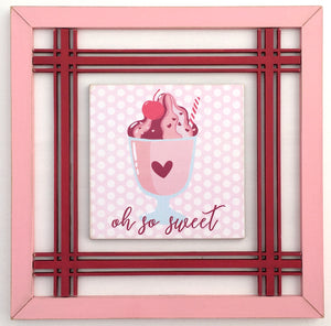 Small wood red and pink sign with a sundae and cherry for tiered trays, shelves, and mantel home decor. Wood decor sign for Valentines decor.