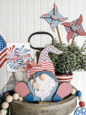 Patriotic/4th of July Gnomes DIY Wood Decor Craft Kit - Paisleys and Polka Dots