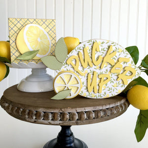 Lemon Wood Block DIY Craft Kit - Paisleys and Polka Dots