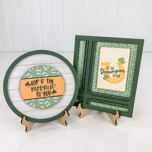 Small wood plate holder for displaying small signs. For use with styling tiered trays, mantels, and shelves.  St Patrick's small wood signs.  Top O' the mornin to you. Let the Shenanigans begin sign