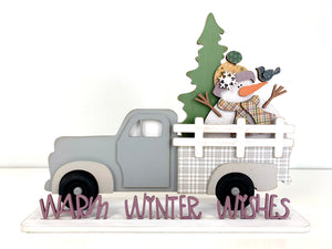 Vintage Farmhouse pick-up truck with interchangeable bed inserts.  Winter truck bed insert for interchangeable truck with snowman and tree