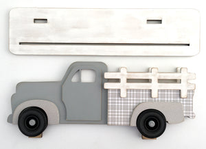 Wood vintage pick-up truck with interchangeable bed inserts. Farmhouse pick-up truck wood decor.