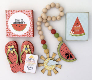 Summertime Garland, Flip Flops, and Blocks Wood Decor DIY Kit - Paisleys and Polka Dots