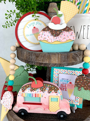 Ice Cream garland and ice cream signs for birthday and celebrate tiered tray decor.  Ice cream tiered tray decorations. Beaded hanging garland with ice cream cones. Handmade wood decor crafts. Handmade tiered tray decor. Seasonal decorations.