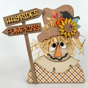 Wood scarecrow, fall wood craft decor, fall decorations, DIY wood crafts
