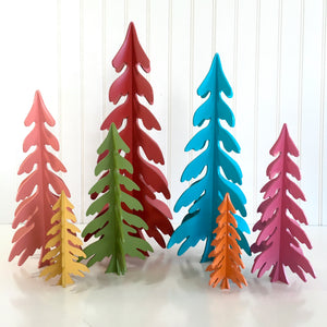 Colorful wood dimensional Christmas trees for fireplace, mantel, tables, or shelves. wood Christmas tree decoartions. Handmade christmas trees, holiday wood decor, christmas crafts, 3D Christmas trees, 3D Trees