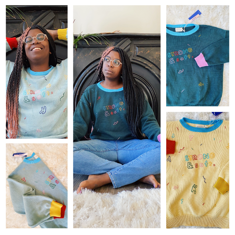 The Endery and Pretty Strange Design custom embroidery sweaters made with deadstock yarn