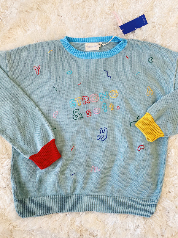Custom Embroidered Deadstock Cotton Sweater | Celeste | M/L