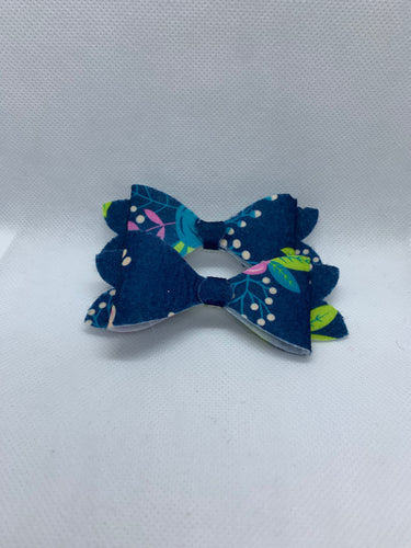 Dark Blue Floral Hair bow clips