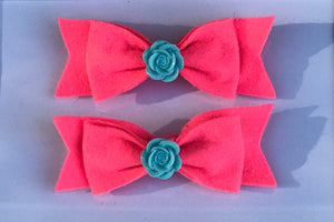 Floral center felt Hair bow clips