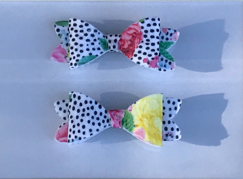 Mini Floral w/ polka dots Hair bow clips