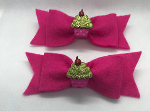 Cupcake Hair bow Clips