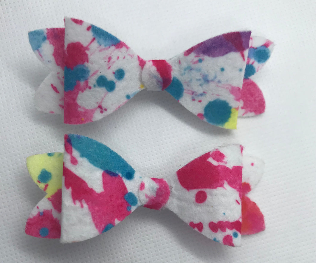 Mini Paint Splash Hair bow clips