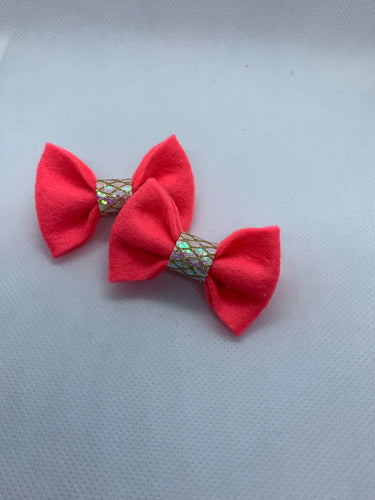 Mini Peach Hair bow clips