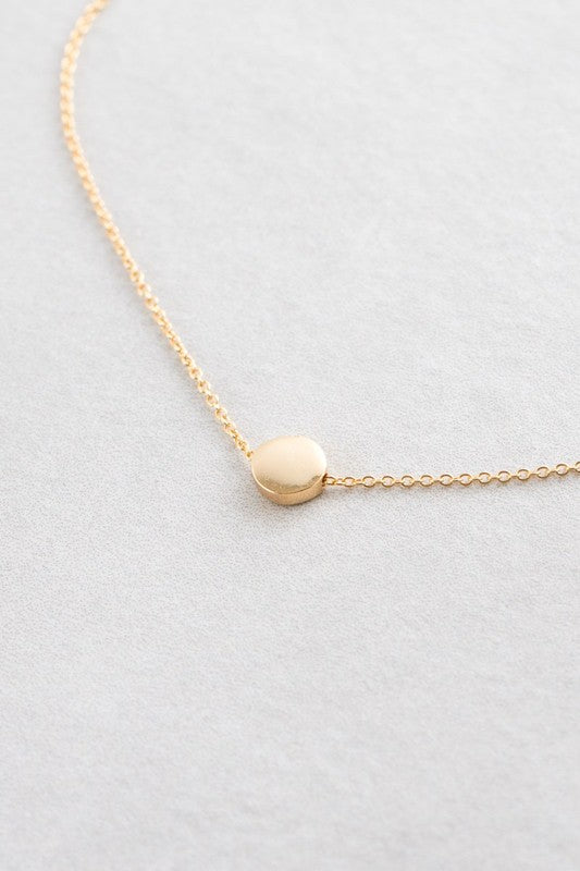 Simple 14k Gold Plated Necklace With Circle Pendant Shelu Boutique