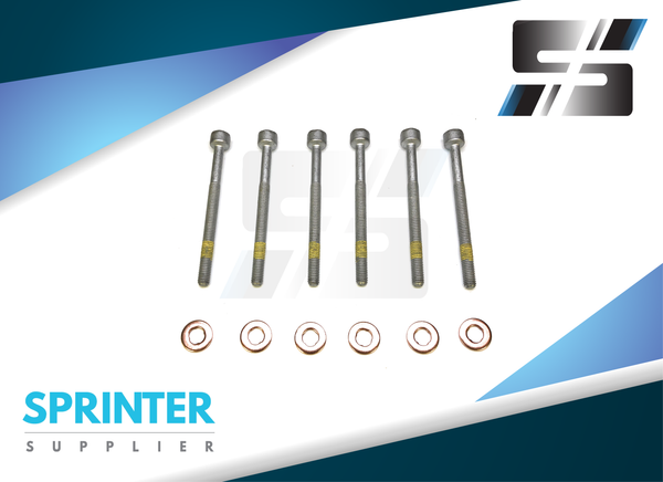 Sprinter Injector Screw Retainer Bolt + Copper Washer (O Ring) Set of 6 for Mercedes Dodge Freightliner2000 - 2014