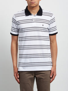 Wowzer Stripe Polo - White
